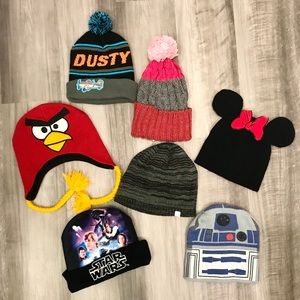 Bundle of Seven Kid's Hat Beanies